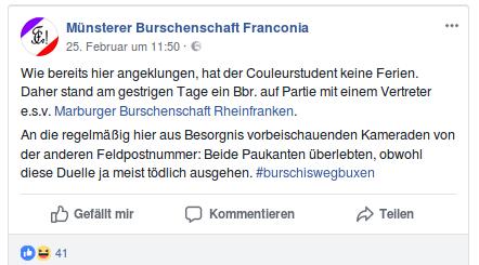 """Enge Kontakte bestehen auch zur """"Marburger Burschenschaft Rheinfranken""""(Screenshot)."""