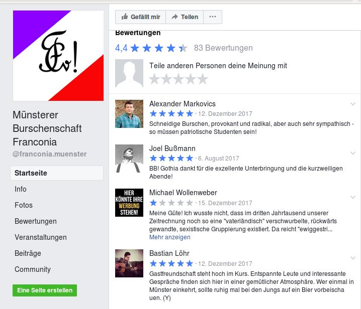 Neonazis und Identitäre hinterlassen Grüße bei Facebook (Screenshot).