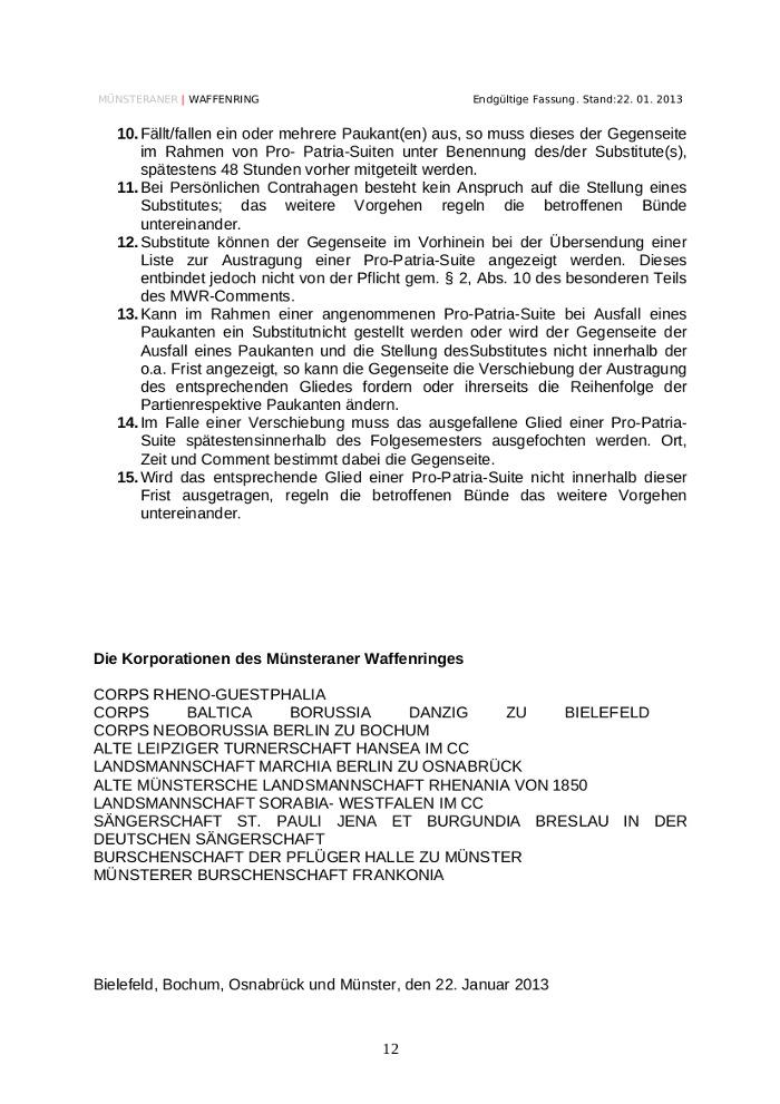 Auszug aus dem Schläger- und Paukcomment des Münsteraner Waffenrings