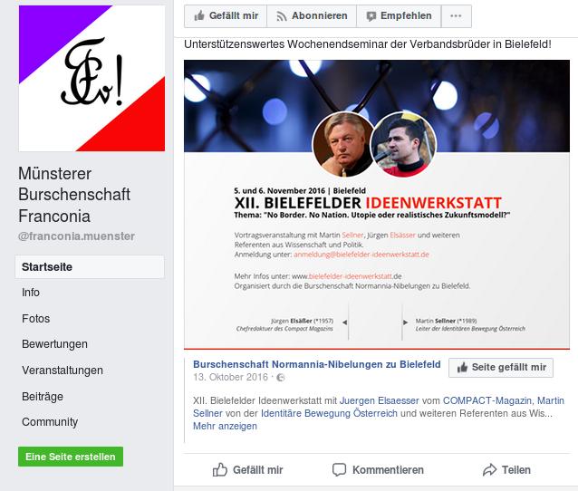 """Die """"Franconia"""" macht Werbung für eine Veranstaltung mit Martin Sellner (Screenshot)."""